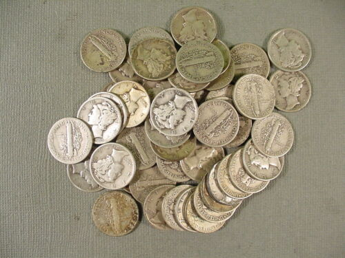 Roll of 50 Mercury Dimes $5 Face Value 90/% Silver Mixed Late Dates 1934-1945