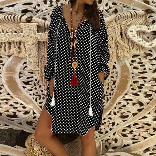 Damen Langarm Minikleid V-Ausschnitt Hemd Bluse FreizeitTunika Shirtkleid Mode
