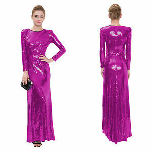 New Hot pink Long sleeve Long formal Evening Prom Party ...