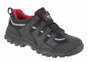 Toesavers 3420 S1P SRA Black Leather Steel Toe Cap Safety Work Trainers Shoes