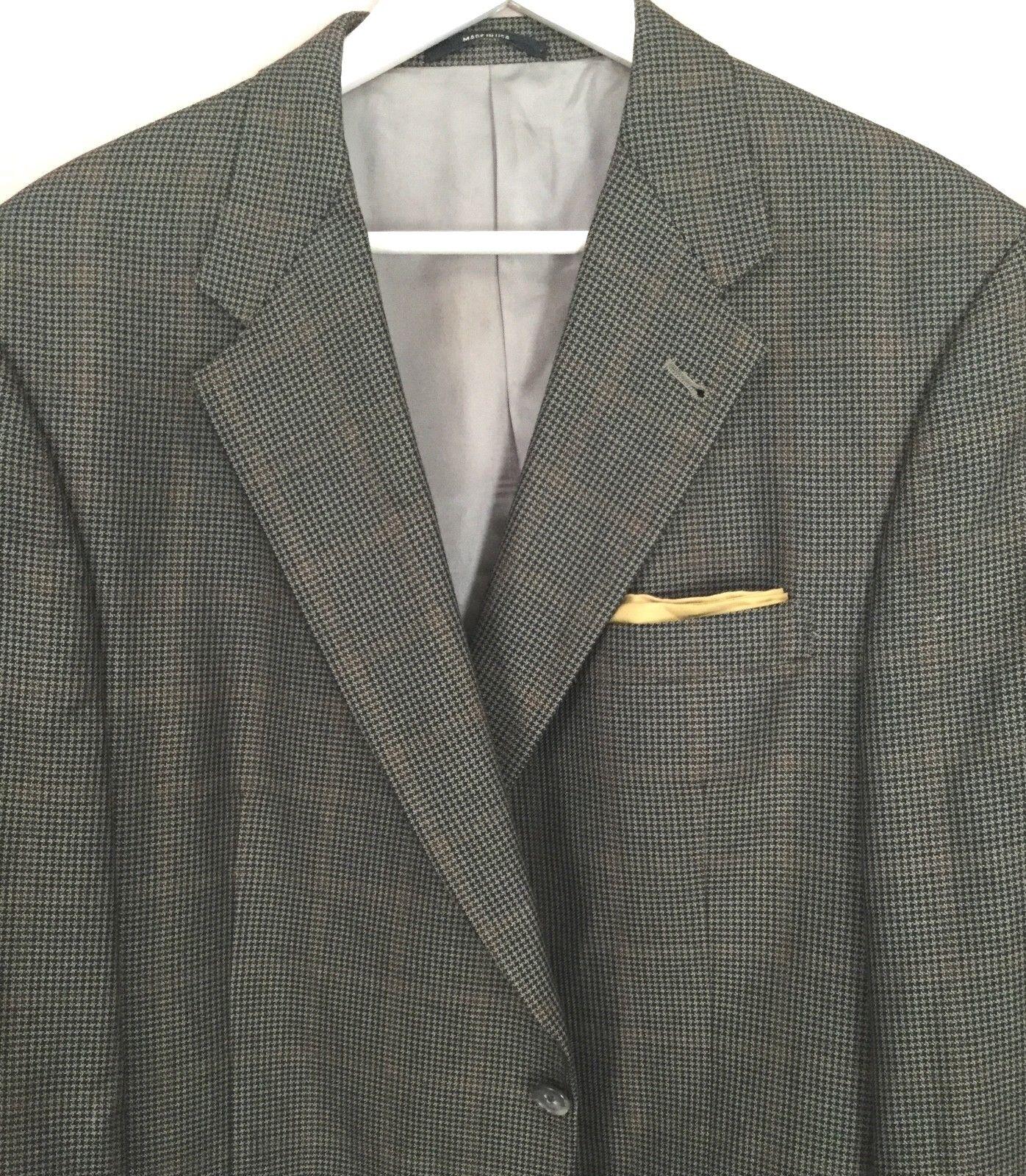 Hart Schaffner Marx Multi color Shadow Window Pane Spts Coat 46R Lux Silk   Wool