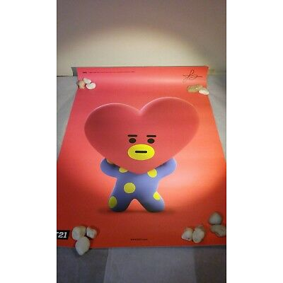 New Line Friends x BT21 Poster TATA V Taehyung BTS NY Store Official Limited Ed