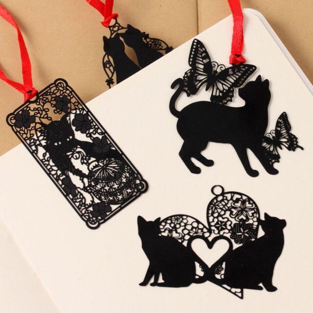 Schwarze Katze Schmetterling Metall Lesezeichen Index Tab Notizen PAL