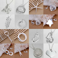 Amazing 925 Plated Silver Chain Girl Beautiful Necklace With Pendant Fashion