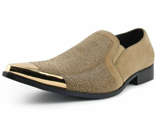 Bolano Mens Taupe Suede with Metal Tip Slip On Dress Shoes Dezzy-008
