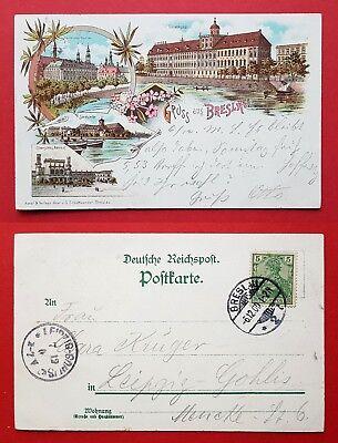 Litho Ak Breslau 1900 Bahnhof, Sandkirche, Universität Und Gericht ( 31939 Herausragende Eigenschaften