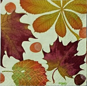 Details about LEAVES CHESTNUT FALL 4 single COCKTAIL SIZE paper napkins for  decoupage 3,ply