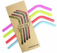 Reusable Food Grade Silicone Drinking Straws (4 Pack) - Bpa Free, Dishwasher Cle