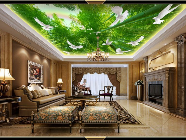 3D Bamboo Forest Ceiling WallPaper Murals Wall Print Decal Deco AJ WALLPAPER GB