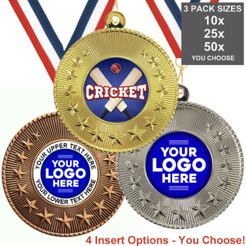PACK OF 10 CRICKET METAL MEDALS 50mm INSERTS or OWN LOGO /& TEXT RIBBONS