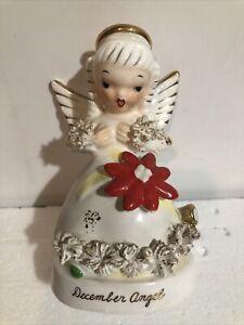 Vintage Napco A1372 December Christmas Angel Flower on Dress Looking Down Japan