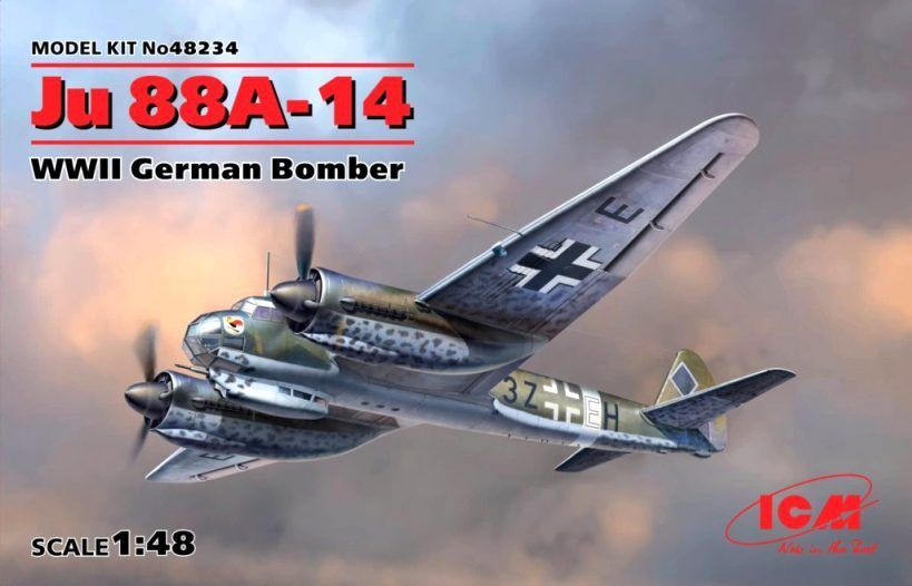 JUNKERS Ju-88 A-14 - WW GERMAN BOMBER (LUFTWAFFE MARKINGS)  48 ICM