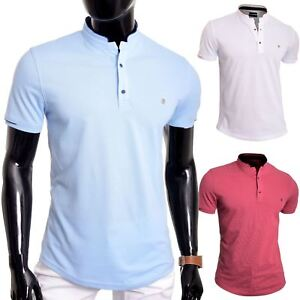 Men-039-s-Casual-Grandad-Collar-Polo-T-Shirt-UK-Size-Short-Sleeve-100-Cotton-Plain