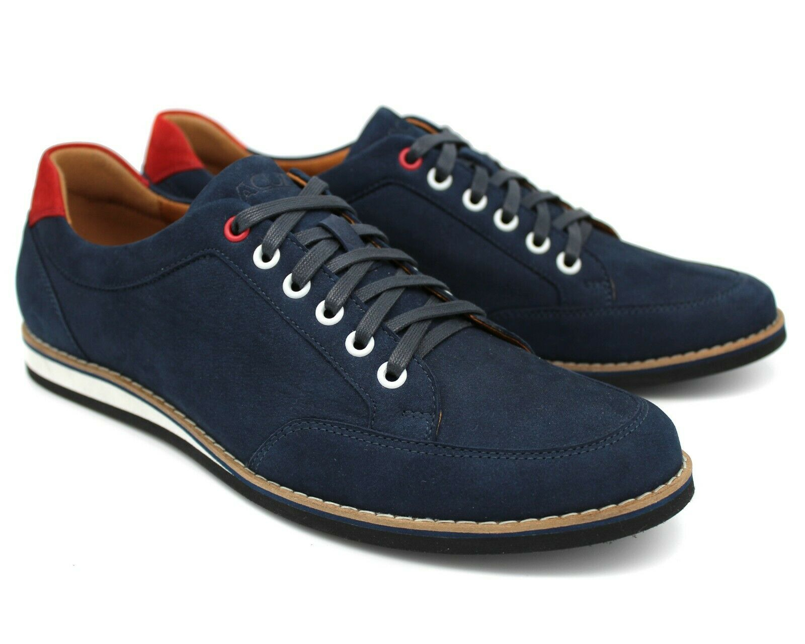 S59 UK 7 MENS NAVY blueE REAL SUEDE TRAINERS SNEAKERS SPORT ITALIAN SHOES EU 41