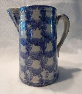 ANTIQUE-BLUE-SPONGEWARE-PITCHER-Smoke-Ring-Chainlink-pattern-VG-cond-1800s