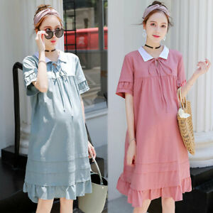2f0979d79d4 Image is loading Cotton-Linen-Maternity-Dress-Women-Summer-Loose-Ruffle-