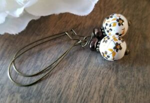 Flower-Earrings-Brown-Floral-Bronze-Dangle-Painted-Fall-Czech-boho-chic
