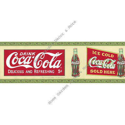 Genuine Coca Cola Coke Red Wall paper Border Soda Bottles  New Sealed