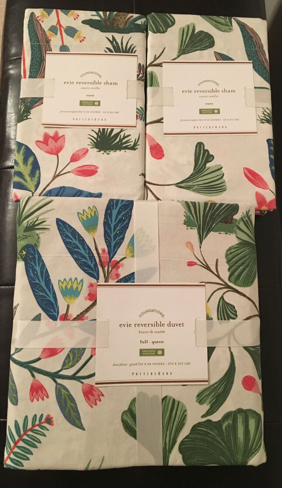 Pottery Barn 'EVIE' REVERSIBLE FULL QUEEN Duvet Cover & (2) EURO Shams SOLD OUT