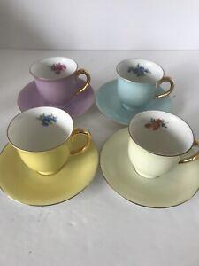 Vintage-Puls-Germany-Demitasse-Cups-amp-Saucers-Porcelain-Assorted-Colors-Set-of-4