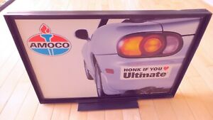 Vintage Original Amoco Gas Pump Double Sided Topper Sign - Good Condition!