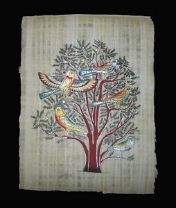 Egyptian-Papyrus-genuine-hand-painted-Birds-on-an-Acacia-Tree