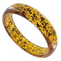 Bracelet Bangle Faux Tortoise Amber Color Black Speckled Lucite Plastic