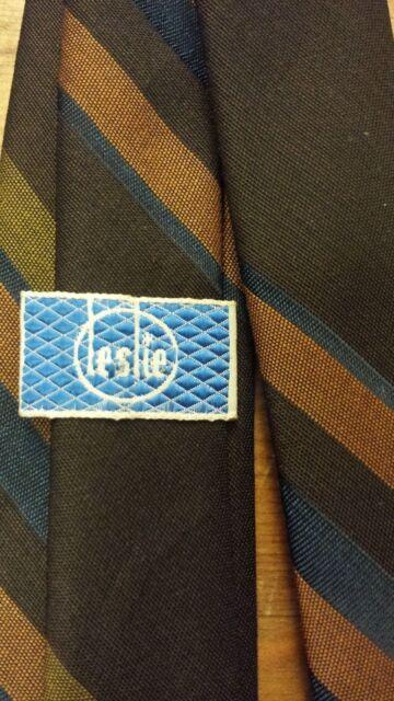 """Vintage, Leslie, Brown, Poly/Wool blend, Striped, Skinny, Neck Tie (52"""")"""