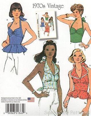 Simplicity 1365 SEWING PATTERN 6-14 Summer Retro/Vintage Halter Top 1970s CUTE!