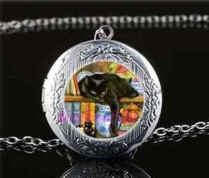 Black-Cat-In-Bookshelf-Cabochon-Glass-Tibet-Silver-Locket-Pendant-Necklace