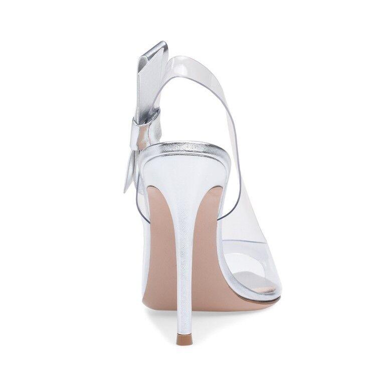 Womens Fashion Sexy Open Toe Bowknot Transparent Transparent Transparent Sandals Slim High Heels Plus Sz 3af509