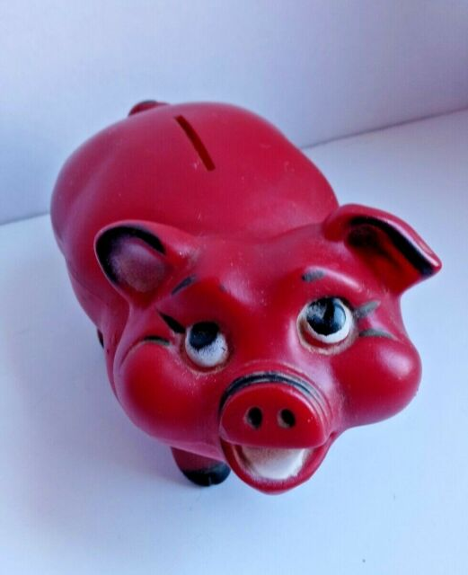 Vintage large 10 inch by 7 inch by 6 inch piggy bank