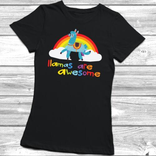 Llamas Are Awesome T-Shirt Womens Ladyfit Unisex Magical Mythical Rainbow