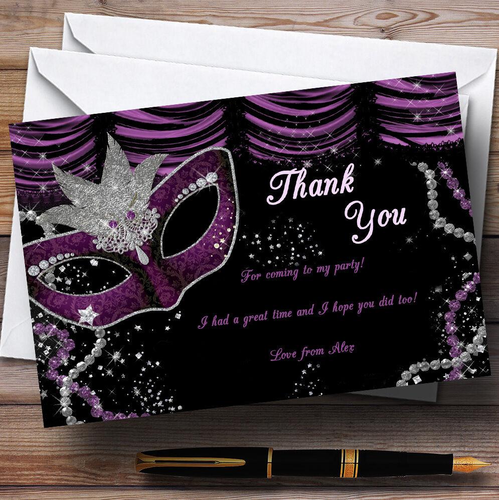 Mascarade Mascarade Mascarade Violet Personnalisé Fête D'Anniversaire cartes remercieHommes t b80416