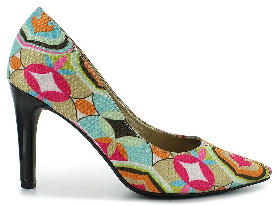 NEU Damenss schuhe 13 PUMPS COLORFUL GEOMETRIC  BLACK HEEL