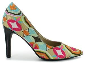 COLORFUL-GEOMETRIC-womens-shoes-size-13-PUMPS-Spring-Easter-BLACK-HEEL