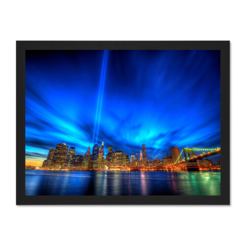 Photo Cityscape New York Laser Lights Picture Large Framed Art Print