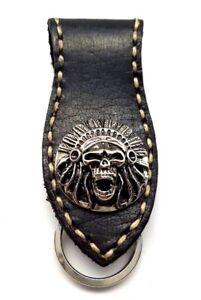 Biker-Skull-Indian-Trucker-white-Stitch-Leather-Belt-Clip-Keychain-Key-Holder