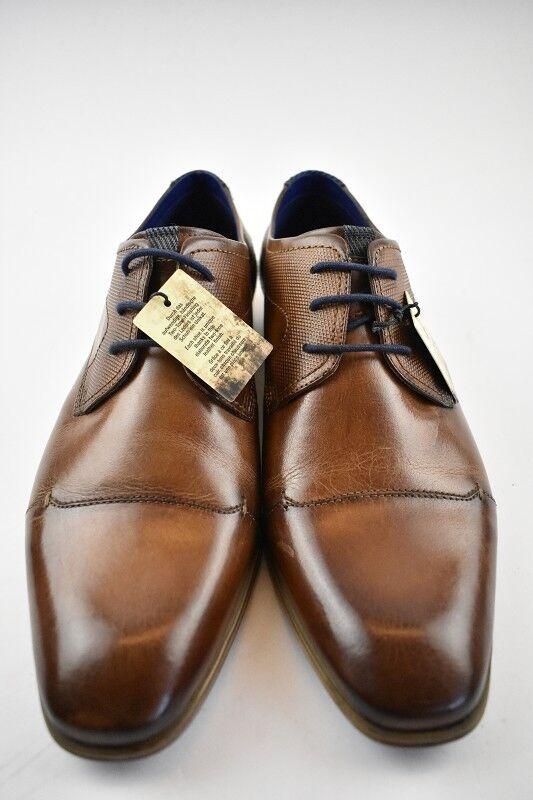 Bugatti Hommes Affaires-Chaussure Cognac Cuir dans la Taille 42