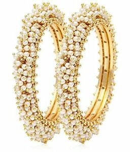 """Indian Bollywood Traditional Gold Plated Pearls Bracelets Bangles Jewelry 2.6/"""""""