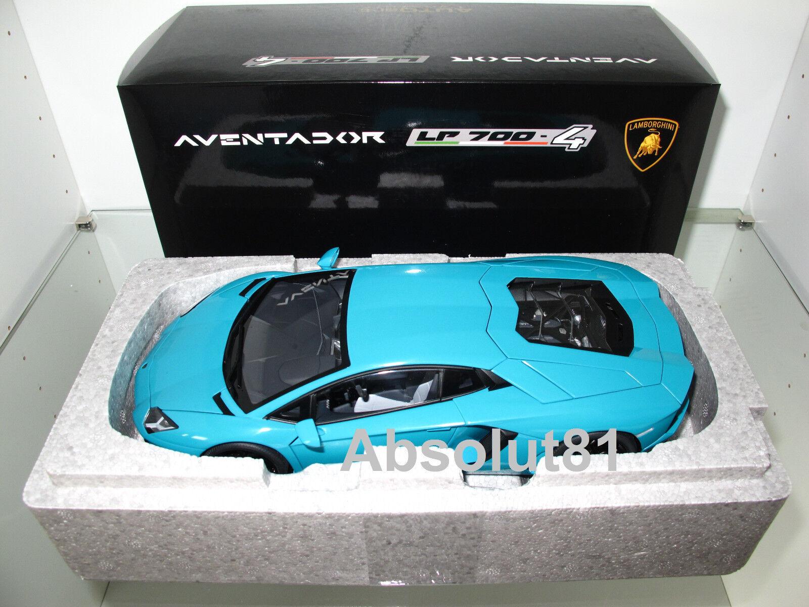 1 18 Autoart Lamborghini aventador lp700-4 turquoise, 74667 NOUVEAU & NEUF dans sa boîte RARE