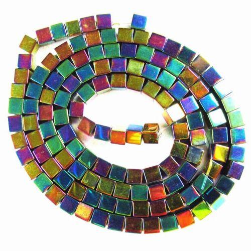 1Strand Rainbow Hematite Cube Pendant Loose Bead 15.5 inch 3x3x3mm 15g A-486TS