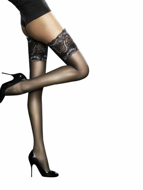cb8d12b79 Fiore Sandrine Deep Lace Top Hold UPS Sheer Thigh High Large Black ...