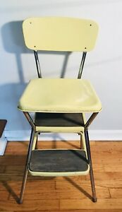 Peachy Details About Vintage Yellow Cosco Step Stool Chair Kitchen Chrome All Metal Flip Top 1940S Gmtry Best Dining Table And Chair Ideas Images Gmtryco