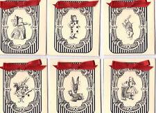 Vintage inspired Alice in Wonderland black stripe tea bag envelopes party favor