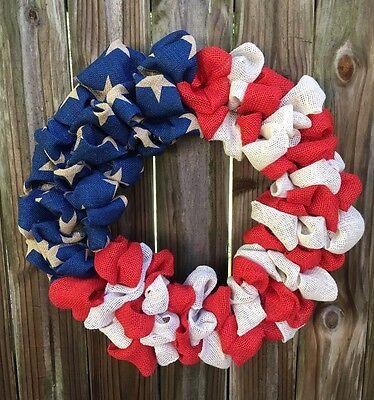 "American Flag 24"" Wreath, USA, Memorial Day July 4th, Patriotic Burlap Wreath"