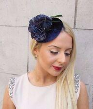 Navy Blue Velvet Flower Fascinator Hat Vintage Races Floral Ascot Hair Clip 2493