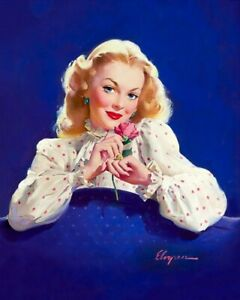 GIL ELVGREN 8x10 PINUP GIRL MATTE PRINT-Demure Blue Eye Wife Blonde Red Lips