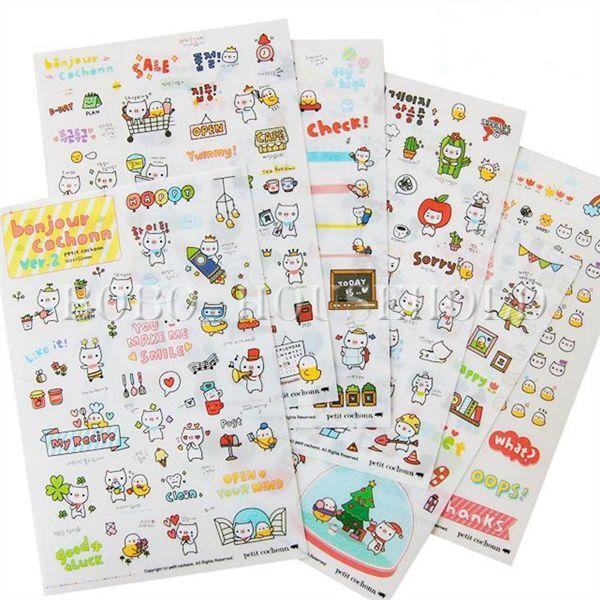 1/5/10 DIY Cartoon Cute Cat Sticker Label Bookmark Diary Decoration StickyPost