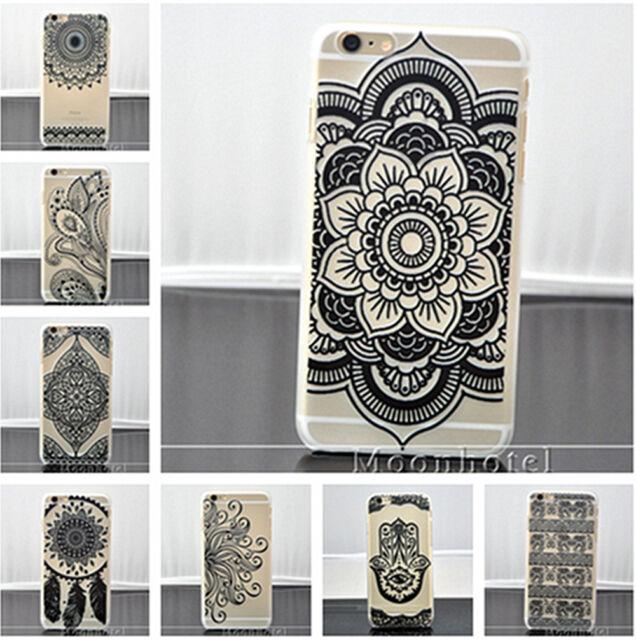 Black Henna Floral Paisley Mandala Matte Case For iPhone 6 6 Plus 5 5S 5c SE 4s